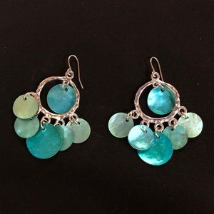 Silvertone blue shell chandelier earrings